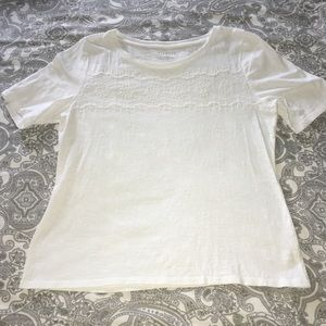 White Talbots Top with embroidered design on Front